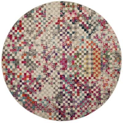 Crosier Gray/Pink Area Rug Rug Size: Round 67