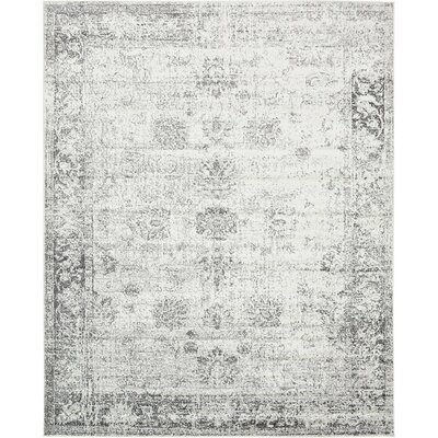Brandt Machine Woven Gray/White Area Rug Rug Size: 8 x 10