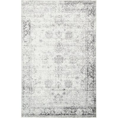 Brandt Machine Woven Gray/White Area Rug Rug Size: 5 x 8