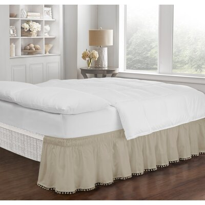 Zavier Fringe Bed Skirt Color: Camel, Size: Queen/King