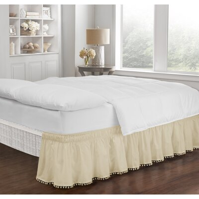 Zavier Fringe Bed Skirt Color: Ivory, Size: Twin/Full