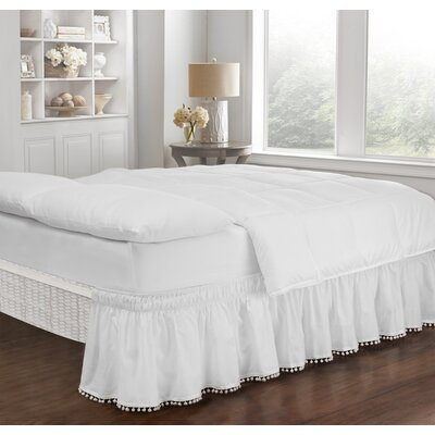 Zavier Fringe Bed Skirt Color: White, Size: Queen/King