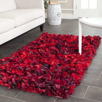 Messiah Red Shag Rug Rug Size: Runner 23 x 11