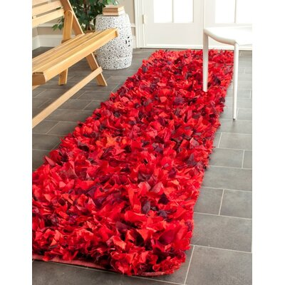 Messiah Red Shag Rug Rug Size: Runner 23 x 6