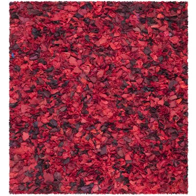 Messiah Red Shag Rug Rug Size: Square 8