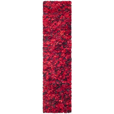 Messiah Red Shag Rug Rug Size: Runner 23 x 9
