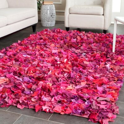 Messiah Fuchsia Shag Area Rug Rug Size: Square 8