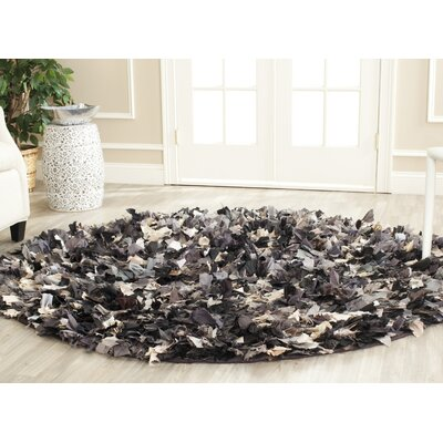 Messiah Black & Gray Area Rug Rug Size: Round 6