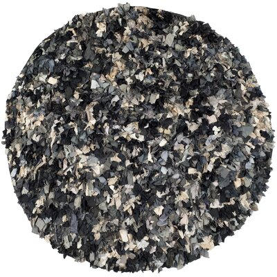 Messiah Hand-Tufted Gray/Brown/Black Area Rug Rug Size: Round 4