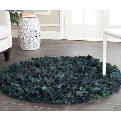 Messiah Green Shag Area Rug Rug Size: Round 4