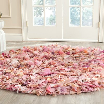 Messiah Ivory/Pink Shag Area Rug Rug Size: 8 x 10