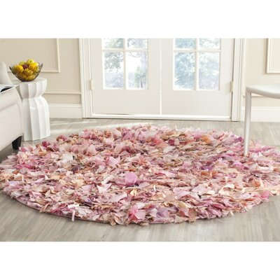 Messiah Ivory/Pink Shag Area Rug Rug Size: Rectangle 9 x 12