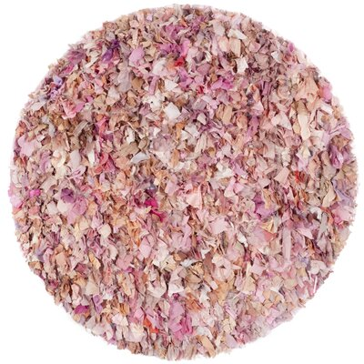 Messiah Ivory/Pink Shag Area Rug Rug Size: Round 4