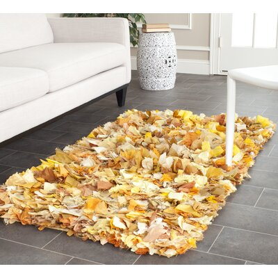 Messiah Gold Gold/Yellow Shag Area Rug Rug Size: 23 x 39
