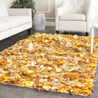 Messiah Gold Gold/Yellow Shag Area Rug Rug Size: 5 x 8