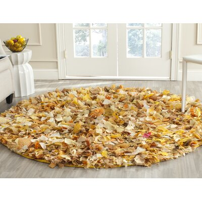 Messiah Gold Gold/Yellow Shag Area Rug Rug Size: Round 6