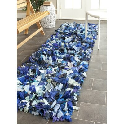 Messiah Hand-Tufted Blue/Black Area Rug Rug Size: Runner 23 x 11