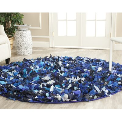 Messiah Blue & Black Area Rug Rug Size: Round 6