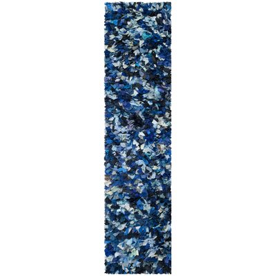 Messiah Hand-Tufted Blue/Black Area Rug Rug Size: Runner 23 x 9
