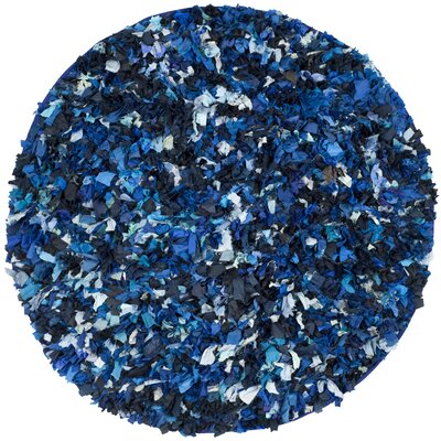 Messiah Hand-Tufted Blue/Black Area Rug Rug Size: Round 4