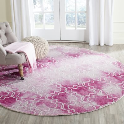 Jawhar Hand-Woven Rose/Ivory Area Rug Rug Size: Round 7