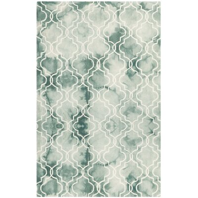 Jawhar Green/Ivory Area Rug Rug Size: Rectangle 5 x 8