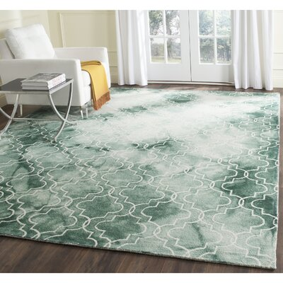 Jawhar Green/Ivory Area Rug Rug Size: Square 7