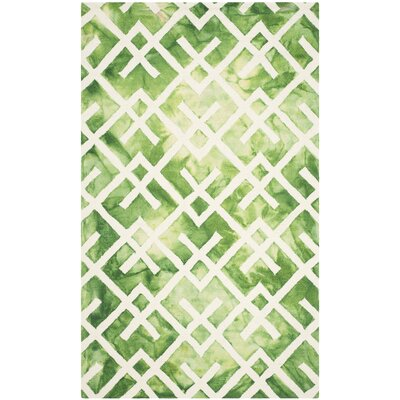 Jawhar Hand Woven Cotton Green/Ivory Area Rug Rug Size: Rectangle 2 x 3