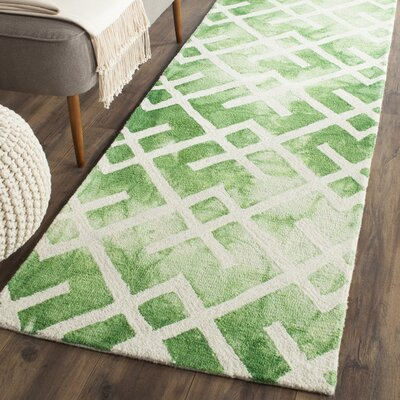 Jawhar Hand Woven Cotton Green/Ivory Area Rug Rug Size: Runner 23 x 8