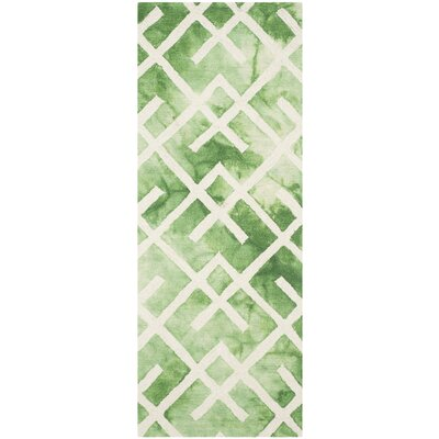 Jawhar Green/Ivory Area Rug Rug Size: Runner 23 x 6