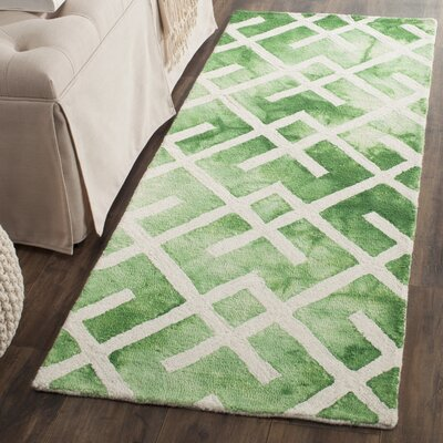Jawhar Hand Woven Cotton Green/Ivory Area Rug Rug Size: Runner 23 x 6