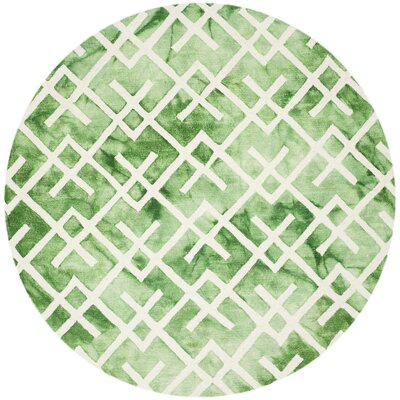 Jawhar Green/Ivory Area Rug Rug Size: Round 7