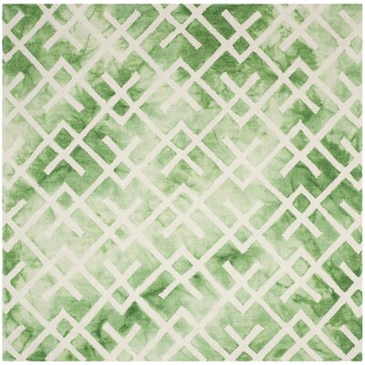 Jawhar Hand Woven Cotton Green/Ivory Area Rug Rug Size: Square 7