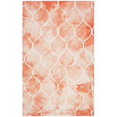 Jawhar Orange & Ivory Area Rug Rug Size: Rectangle 4 x 6