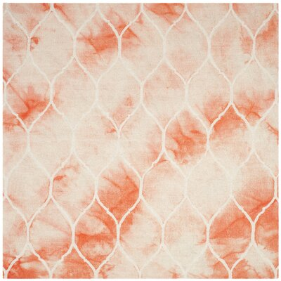 Jawhar Orange & Ivory Area Rug Rug Size: Square 7