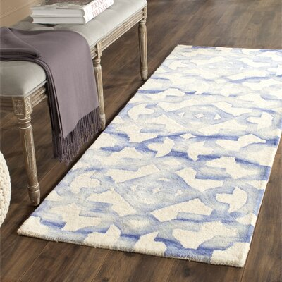 Jawhar Ivory/Blue Area Rug Rug Size: Runner 23 x 10