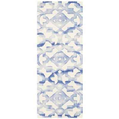 Jawhar Ivory/Blue Area Rug Rug Size: Runner 23 x 8