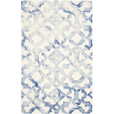 Jawhar Ivory/Blue Area Rug Rug Size: Rectangle 5 x 8