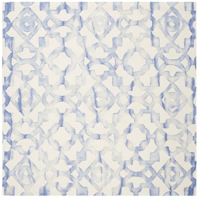 Jawhar Ivory/Blue Area Rug Rug Size: Square 7