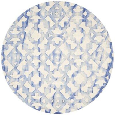 Jawhar Ivory/Blue Area Rug Rug Size: Round 7