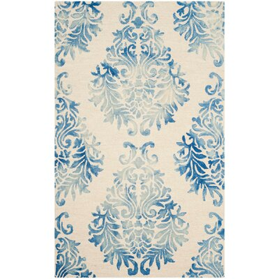 Jawhar Beige/Blue Area Rug Rug Size: 4 x 6