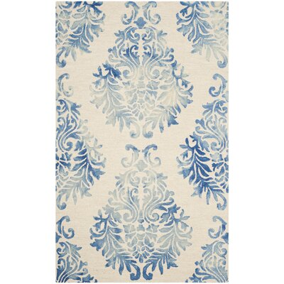 Jawhar Beige/Blue Area Rug Rug Size: 5 x 8