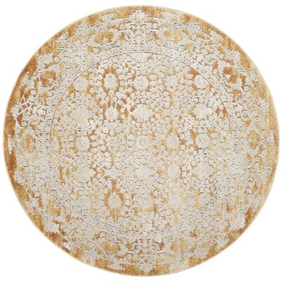 Jerry Gold/Beige Area Rug Rug Size: Round 67 x 67
