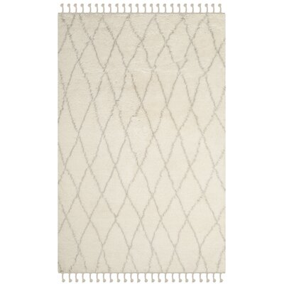 Cosima Hand-Knotted Ivory/Gray Area Rug Rug Size: Rectangle 4 x 6