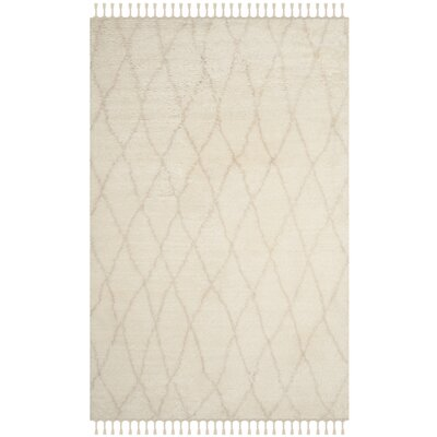 Cosima Hand-Knotted Ivory/Beige Area Rug Rug Size: Rectangle 4 x 6