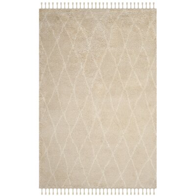 Cosima Hand-Knotted Beige/Ivory Area Rug Rug Size: Rectangle 4 x 6