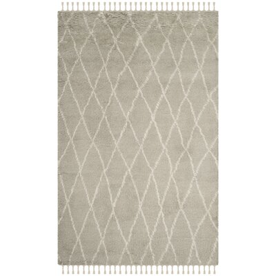 Cosima Hand-Knotted Gray/Ivory Area Rug Rug Size: Runner 23 x 8