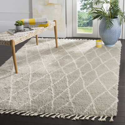 Cosima Hand-Knotted Gray/Ivory Area Rug Rug Size: Rectangle 4 x 6