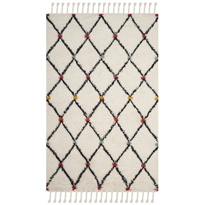 Cosima Hand-Tufted Ivory/Black Area Rug Rug Size: Runner 23 x 8