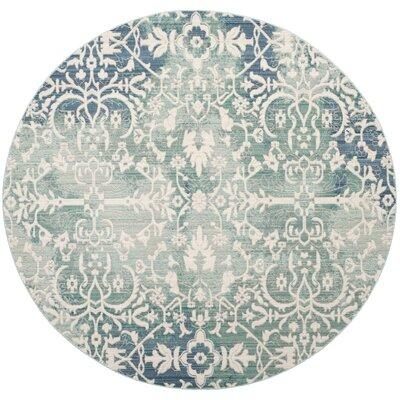 Lulu Blue/Ivory Area rug Rug Size: Round 67